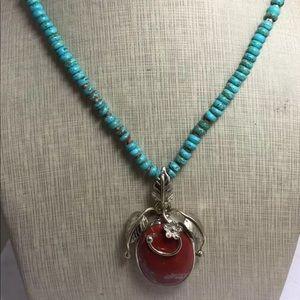 "Jewelry - Gorgeous Mahogany Obsidian/Turquoise 22"""